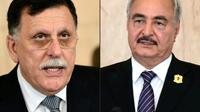 Les deux principaux protagonistes de la crise en Libye, Fayez al-Sarraj (g), chef du Gouvernement d'union nationale (GNA) reconnu par l'ONU, et Khalifa Haftar, l'homme fort de l'Est libyen, seront présents à Berlin, mais ne devraient pas siéger à... [FETHI BELAID, HO / AFP/Archives]