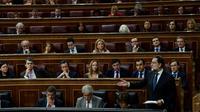 Le Premier ministre espagnol Mariano Rajoy devant les députés, le 25 octobre 2017 à Madrid [PIERRE-PHILIPPE MARCOU / AFP]