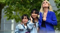 Laeticia Hallyday et ses filles Jade et Joy participent le 15 juin 2019 à l'inauguration d'une esplanade Johnny Hallyday à Toulouse [Eric CABANIS / AFP]