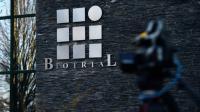 Le logo du centre Biotrial, le 16 janvier 2016 à Rennes [LOIC VENANCE / AFP/Archives]