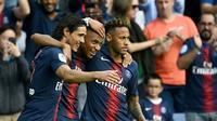 Le PSG d'Edinson Cavani, Kylian Mbappé et Neymar Jr, face à Angers, le 25 août 2018 au Parc des Princes, va connaître ses adversaires en Ligue des champions [FRANCK FIFE / AFP/Archives]