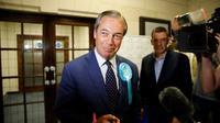 Nigel Farage parle à la presse après l'annonce des résultats des élections européennes à Southampton, dans le sud de l'Angleterre, le 26 mai 2019 [Tolga AKMEN / AFP]