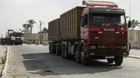 Photo prise le 17 juillet 2018 à Kerem Shalom, le seul point de passage de marchandises entre Israël et la bande de Gaza sous blocus [SAID KHATIB / AFP]