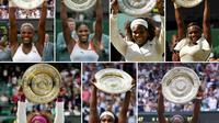 Photomontage, réalisé le 12 juillet 2019, représentant les 7 titres déjà remportés par Serena Williams sur le gazon londonien de Wimbledon [GERRY PENNY, Odd ANDERSEN, Adrian DENNIS, Glyn KIRK, Justin TALLIS, Leon NEAL / AFP]