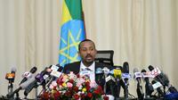 Le Premier ministre éthiopien Abiy Ahmed, pendant une conférence de presse le 25 août 2018 à Addis Abeba [Michael Tewelde / AFP]