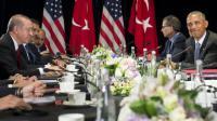 Le président américain Barack Obama (d) et son homologue turc Recep Tayyip Erdogan en marge du sommet du G20 à Hangzhou, en Turquie, le 4 septembre 2016  [SAUL LOEB / AFP]