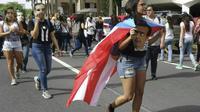 Des étudiants de l'université de Porto Rico manifestent à San Juan, à Porto Rico, le 24 mai 2017 [ELODIE CUZIN / AFP]