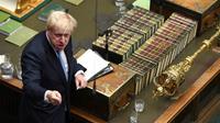 Le Premier ministre Boris Johnson devant le Parlement britannique le 25 juillet 2019. [JESSICA TAYLOR / UK PARLIAMENT/AFP]