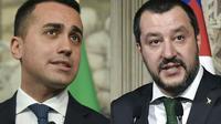 Luigi Di Maio (M5S) et Matteo Salvini (La Ligue) sur un montage réalisé le 10 mai 2018 [Tiziana FABI / AFP/Archives]