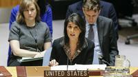 L'ambassadrice des Etats-Unis à l'ONU Nikki Haley devant le Conseil de sécurité des Nations unies, le 18 décembre 2017 à New York [KENA BETANCUR / AFP]