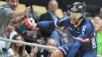 Le Français Quentin Lafargue champion du monde du kilomètre au vélédrome de Pruszkow le 1er mars 2019 [Janek SKARZYNSKI / AFP]