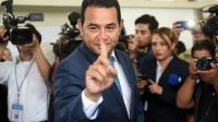 Jimmy Morales après avoir voté le 6 septembre 2015 Guatemala City [Marvin RECINOS / AFP]