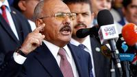 L'ancien président yéménite Ali Abdallah Saleh prononce un discours pour le 35e anniversaire de son parti politique, le 24 août 2017 à Sanaa [MOHAMMED HUWAIS / AFP/Archives]