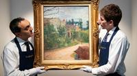 """""""Le Jardin de Pissarro"""", une toile méconnue de Paul Gauguin photographiée le 14 février 2019 à Paris, sera cédée aux enchères à Paris le 29 mars [BERTRAND GUAY / AFP]"""