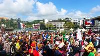 Manifestation sur la place de la République de Mamoudzou, le 13 mars 2018 [Ornella LAMBERTI / AFP]