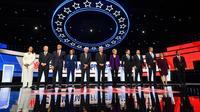 Les candidats à l'investiture démocrate pour l'élection américaine de 2020 avant un débat, à Westerville dans l'Ohio, le 15 octobre 2019 [Nicholas Kamm / AFP]