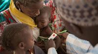 Un soignant mesure la circonférence du bras d'un enfant pour contrôler la malnutrition dans un dispensaire de l'Unicef dans un camp pour déplacés à Dikwa le 15 février 2017 [FLORIAN PLAUCHEUR / AFP/Archives]