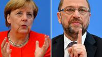 Montage de deux photos d'Angela Merkel (g), le 29 août 2017 à Berlin, et Martin Schulz (d), le 27 juin 2017 à Berlin [Tobias SCHWARZ / AFP]