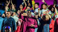 Nicolas Maduro célèbre sa victoire aux présidentielles, le 20 mai 2018 à Caracas [Juan BARRETO / AFP]