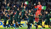 La joie des joueurs italiens, qualifiés pour l'Euro-2020 après leur victoire face à la Grèce, le 12 octobre 2019 à Rome [Alberto PIZZOLI / AFP]