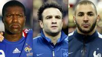 Une combinaison de photos montrant de gauche à droite  Djibrill Cisse, Mathieu Valbuena et Karim Benzema [FRANCK FIFE / AFP/Archives]