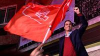 Le Premier ministre espagnol sortant, le socialiste Pedro Sanchez, célèbre sa victoire aux élections législatives à Madrid, le 10 novembre 2019 [PIERRE-PHILIPPE MARCOU / AFP]