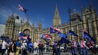 Des manifestants pro-européens rassemblés devant le parlement britannique à Londres le 11 juin 2018 [Daniel LEAL-OLIVAS / AFP]