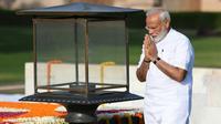 Le Premier ministre indien Narendra Modi, au mémorial en l'honneur de Mahatama Gandhi, à New Dehli, le 30 mai 2019 [Money SHARMA / AFP]