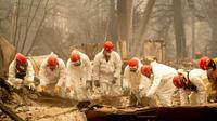 Les secours inspectent les décombres d'une maison à la recherche d'éventuelles victimes du gigantesque incendie qui ravage le nord de la Californie, le 14 novembre 2018 à Paradise [Josh Edelson / AFP]