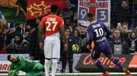 Monaco et Thomas Lemar ont été accrochés à Toulouse, après avoir concédé un penalty transformé par Andy Delort, le 24 février 2018 [PASCAL PAVANI / AFP]