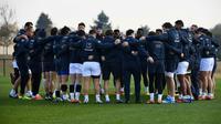 Le XV de France regroupé avant une séance d'entraînement au centre de Marcoussis, le 9 novembre 2018 en vue des tests contre l'Afrique du Sud et l'Argentine [Anne-Christine POUJOULAT / AFP/Archives]
