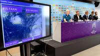Image satellite du typhon Hagibis lors d'une conférence de presse des organisateurs de la Coupe du monde de rugby, le 10 octobre 2019 à Tokyo [William WEST / AFP]