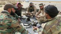 Soldats syriens le 29 mars 2016 près de Palmyre [STRINGER / AFP]