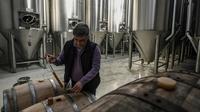 Le microbrasseur Sophocle Panagiotou remplit un verre d'une bière qu'il produit, le 28 février 2019 sur l'île d'Eubée en Grèce [ARIS MESSINIS / AFP]