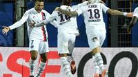 La joie du trio offensif du PSG, Kylian Mbappé, Neymar et Mauro Icardi, tous buteurs à Montpellier, le 7 décembre 2019 [Pascal GUYOT / AFP]
