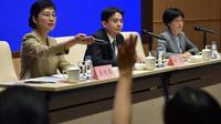 Conférence de presse des porte-parole du Bureau des affaires de Hong Kong et Macao, le 6 août 2019 à Pékin [GREG BAKER / AFP]