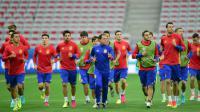 L'équipe d'Espagne à l'entraînement pendant l'Euro-2016, le 16 juin 2016 à Nice [BULENT KILIC / AFP]