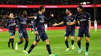 La joie des joueurs du PSG après un but contre Guingamp, le 9 avril 2017 au Parc des Princes [FRANCK FIFE / AFP]