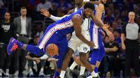 Joel Embiid, pivot camerounais de Philadelphie, lors d'un match de NBA contre les Brooklyn Netys, le 13 avril 2019 à Philadelphie [Drew Hallowell / GETTY IMAGES NORTH AMERICA/AFP]