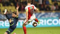Valère Germain marque le premier but pour l'AS Monaco lors de la victoire devant Lille en quart de la Coupe de France, le 4 avril 2017 au stade Louis-II [VALERY HACHE / AFP]