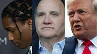 De gauche à droite : ASAP Rocky à Los Angeles le 29 octobre 2016, le Premier ministre suédois Stefan Lofven à Paris le 24 juin 2019 et le président américain Donald Trump à Washington le 24 juillet 2019.