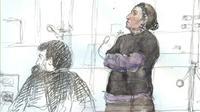 """Croquis d'audience réalisé le 4 juin 2018 au procès de Christine Rivière, surnommée """"Mamie jihad"""" (d), à la cour d'appel de Paris [Benoit PEYRUCQ / AFP/Archives]"""