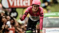 L'Américain Lawson Craddock franchit la ligne d'arrivée de la 20e étape du Tour, un contre-la-montre individuel, à Espelette, le 28 juillet 2018 [Philippe LOPEZ / AFP]