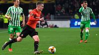 Le milieu de Rennes Benjamin Bourigeaud contre le Betis Séville en 16e de finale aller de la Ligue Europa, le 14 février 2019 à Rennes [DAMIEN MEYER / AFP]