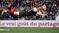 L'Anglais Chris Ashton inscrit un essai pour le RCT face à Clermont, le 25 mars 2018 à Toulon [BERTRAND LANGLOIS / AFP]