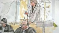 Croquis d'audience montrant l'accusée Laurence Nait Kaoudjt (d) et ses avocats Eric Dupond-Moretti (c) et Anna-Maria Sollacaro au premier jour du procès, le 14 septembre 2015, devant la cour d'assises d'Ille-et-Vilaine à Rennes [BENOIT PEYRUCQ / AFP]