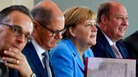 La chancelière allemande Angela Merkel avant le début de la réunion hebdomadaire du gouvernement, à Berlin le 5 septembre 2018 [John MACDOUGALL / AFP]