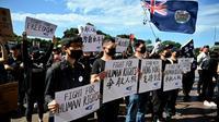 Manifestation à Sydney le 29 septembre 2019 de soutien aux militants pro-démocratie de Hong Kong [PETER PARKS / AFP]