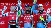 Le podium du combiné de Santa Caterina dominé par Alexis Pinturault (c), devant Marcel Hirscher (g) et Aleksander Aamodt Kilde, le 29 décembre 2016 [Andrea SOLERO / AFP]