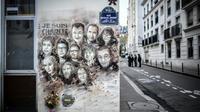 Une fresque représentant les victimes de l'attentat contre Charlie Hebdo photographiée le 7 janvier 2019 sur un mur des anciens locaux du journal à Paris [STEPHANE DE SAKUTIN / AFP/Archives]